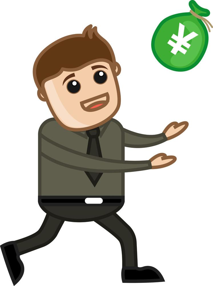 Greedy Man - Vector Illustration