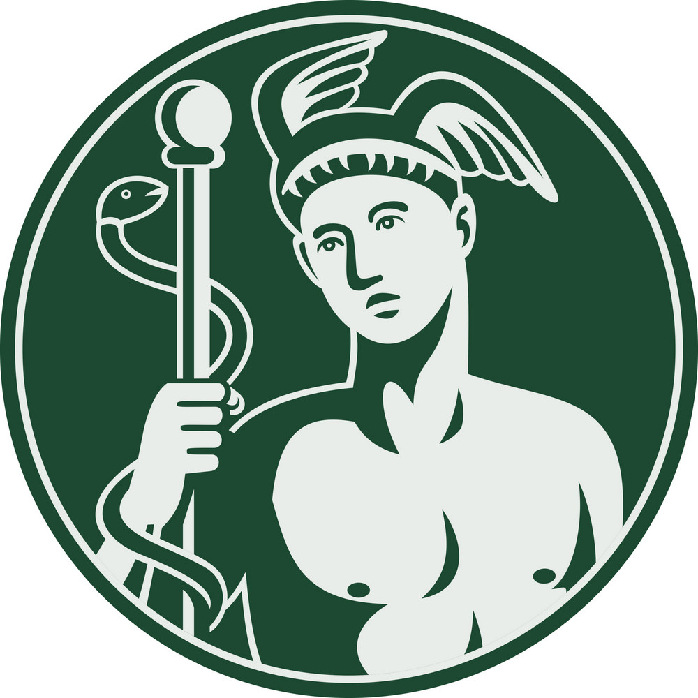 Greek God Hermes Holding A Caduceus Royalty Free Stock Image