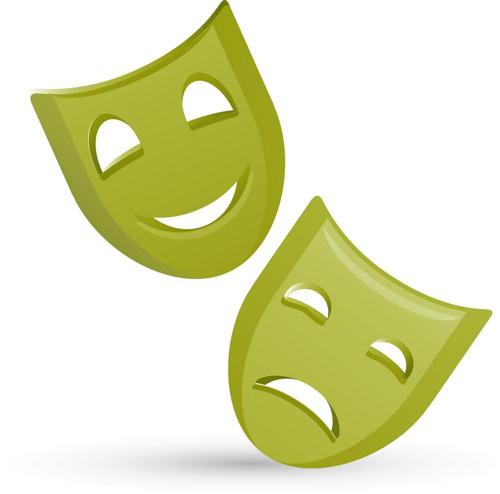 Greek Theater Masks Green Lite Entertainment Icons