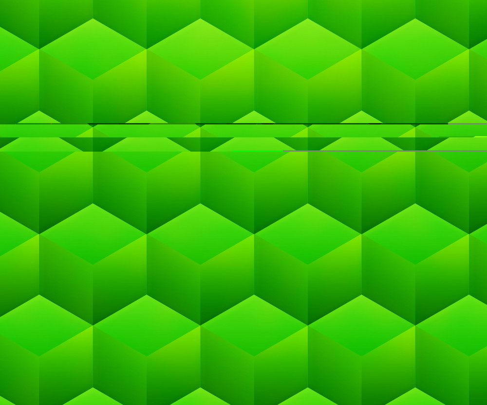 Green Abstract Cubes Background