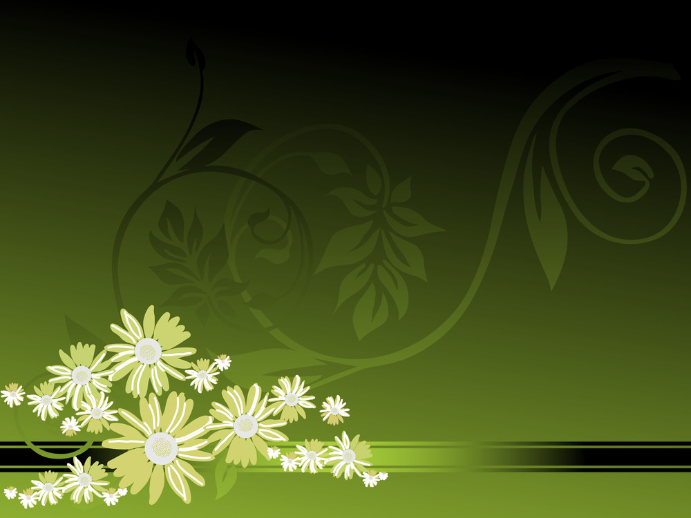 Green Background With Blossoms