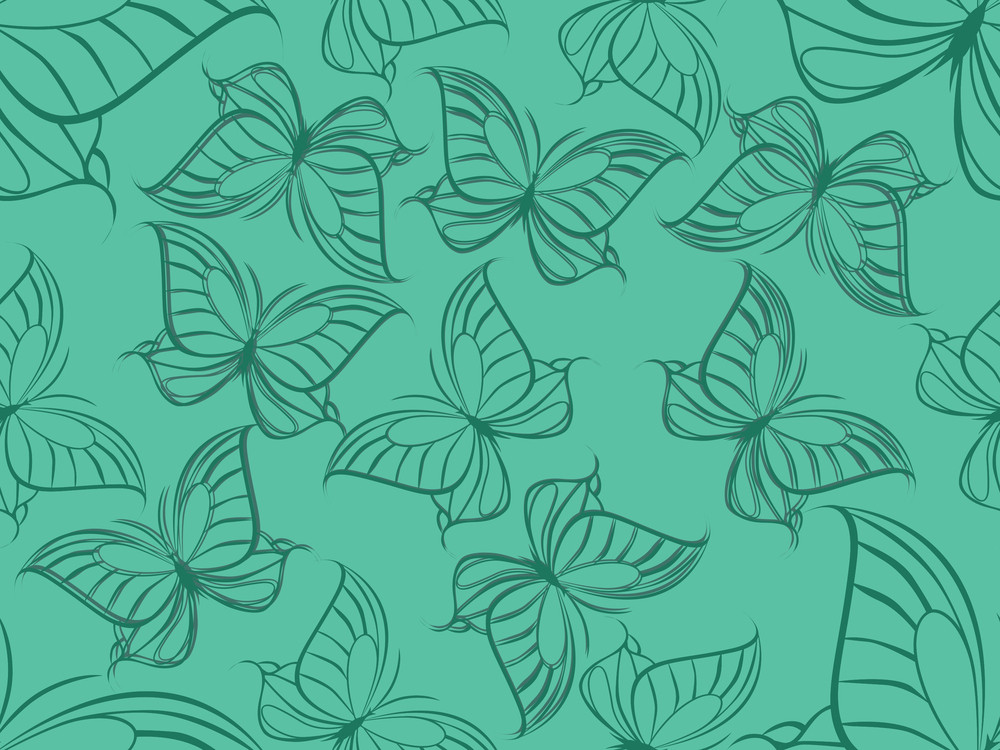 Green Background With Butterfly Shape