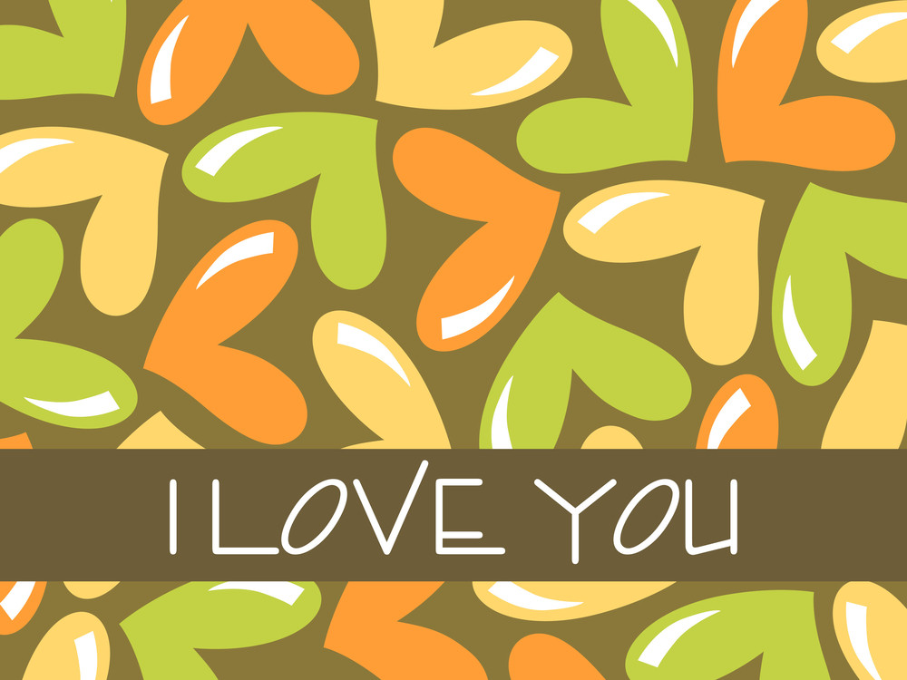 Green Background With Colorful Heart