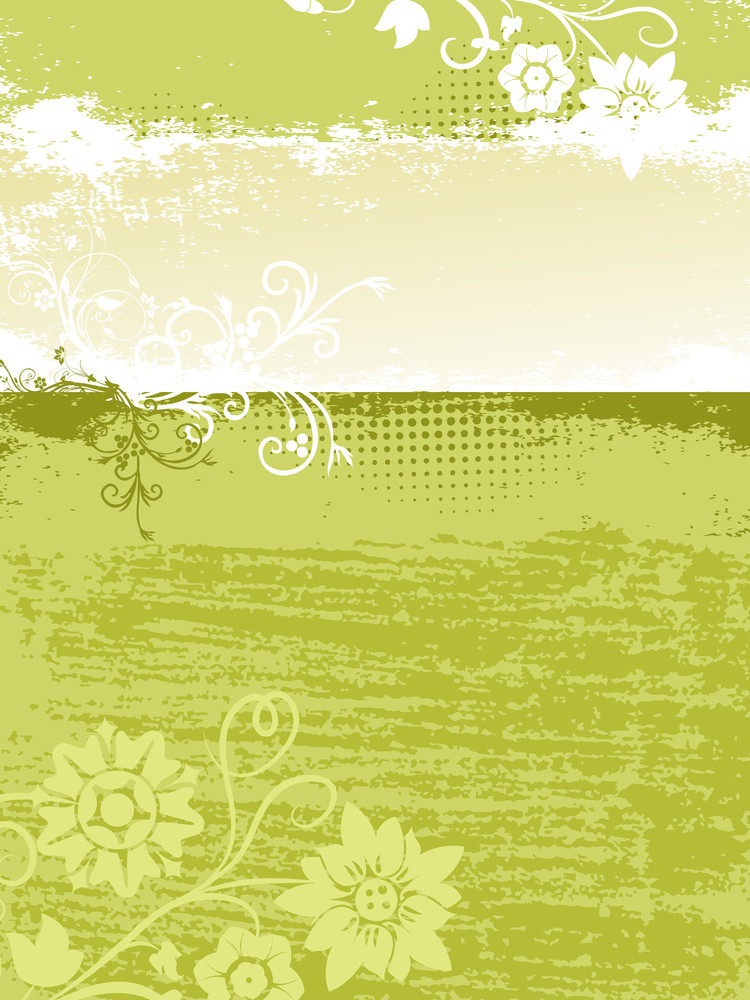 Green Background With Floral