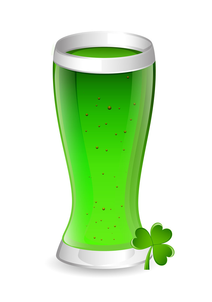 Green Beer Glass With Clover Leaf