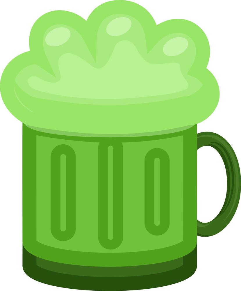 Green Beer Mug Cartoon Illustration On St. Patrick's Day