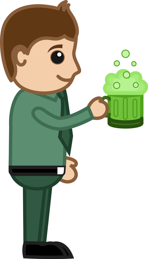 Green Beer - St. Patrick's Day - Business Cartoon Charactersbusiness Cartoon Characters