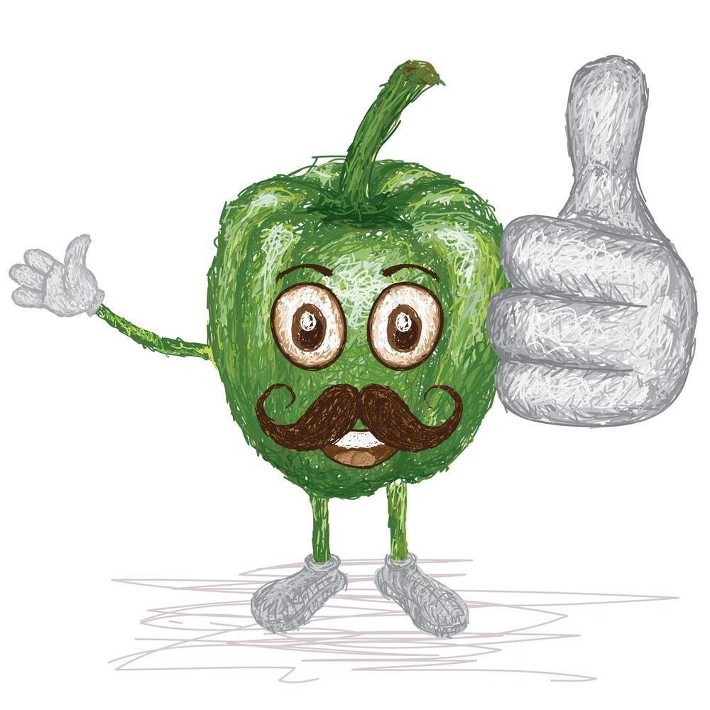 Green Bell Pepper Mustache
