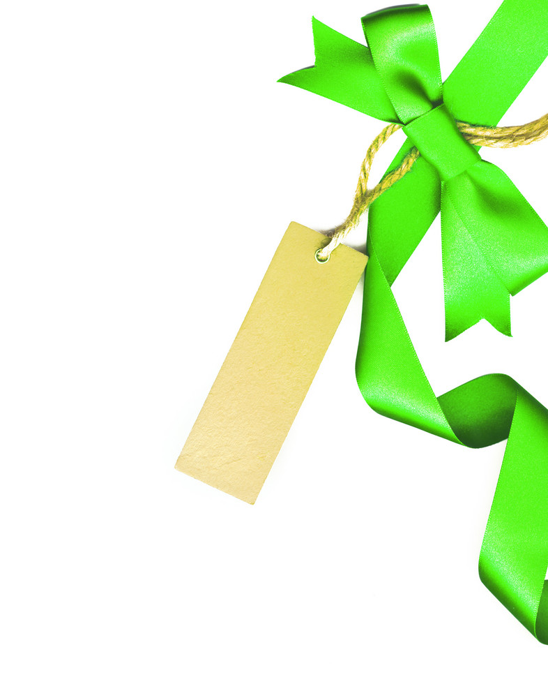 Green Bow With White Empty Tag