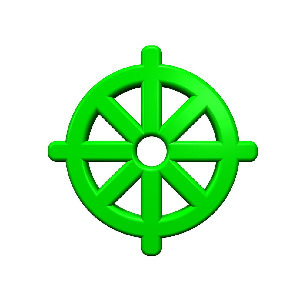 Green Buddhism Symbol.