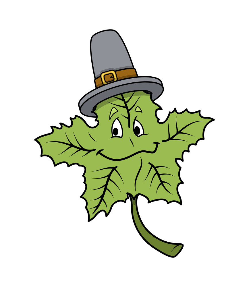 Green Cartoon Leaf With Hat Vector