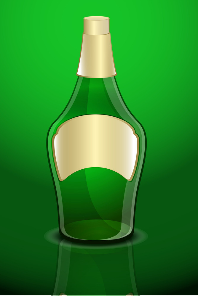 Green Champaign Bottle Vector Shape