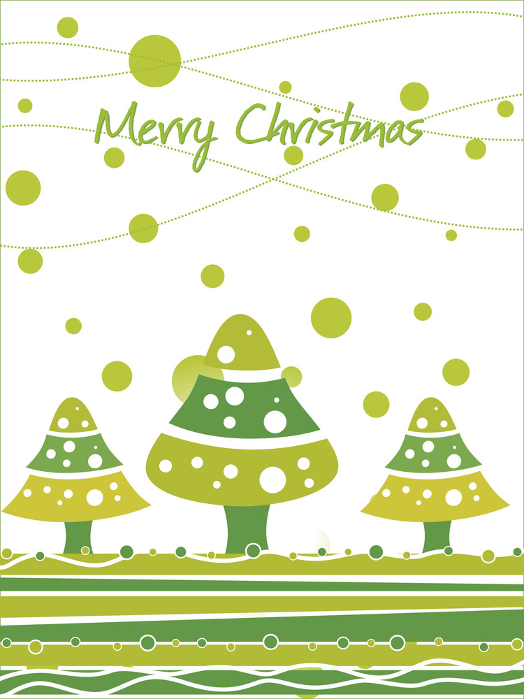 Green Christmas Cartoon Tree And Snowflake