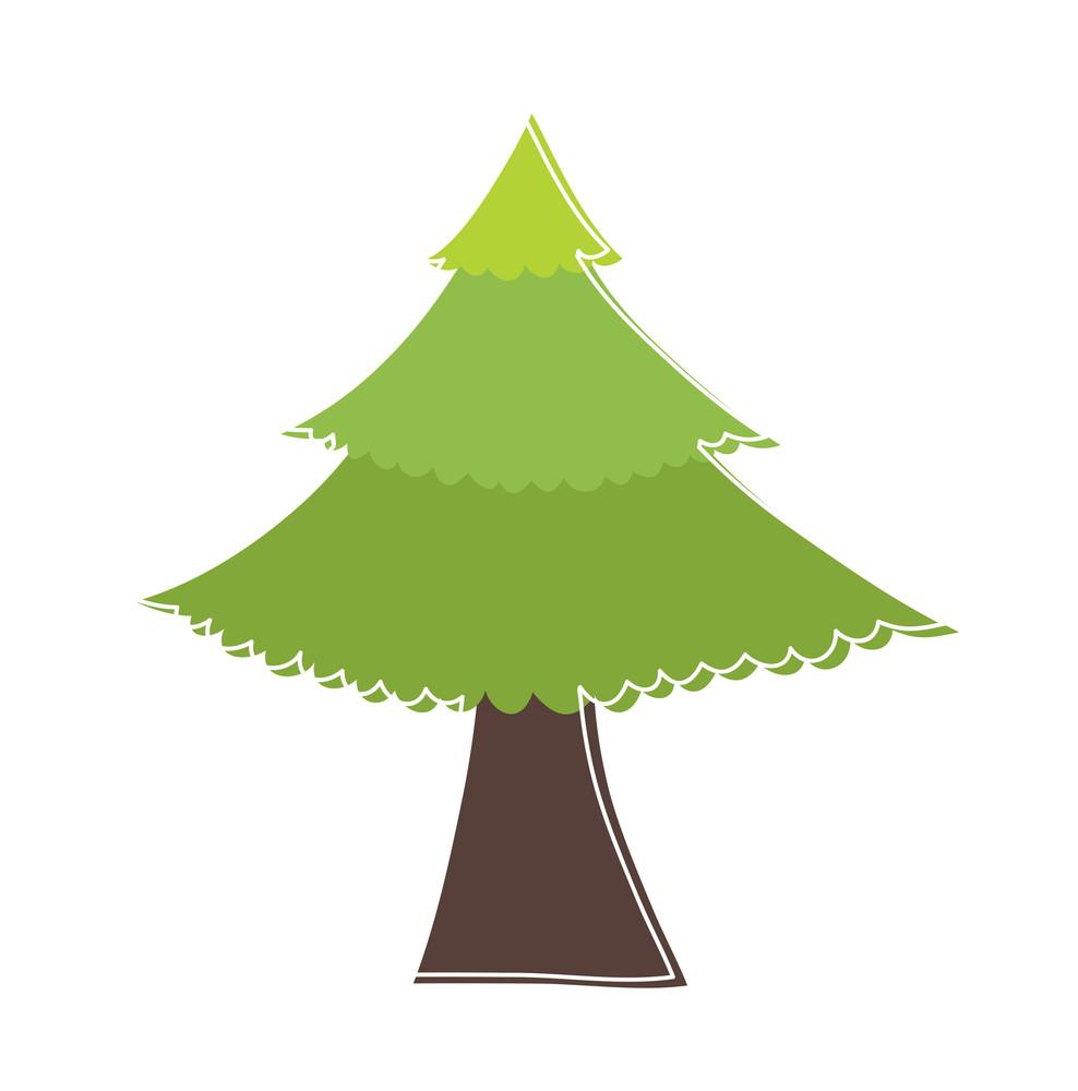 Green Christmas Tree Sticker Element