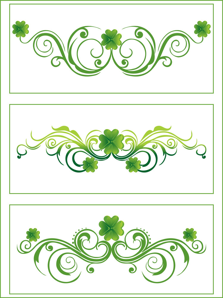 Green Color Clover With Artistic Pattern 17 Amrch