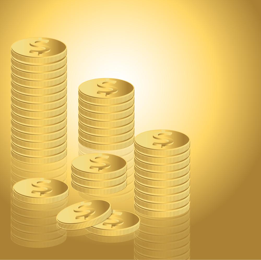 Green Dollar Symbols Coins Collection