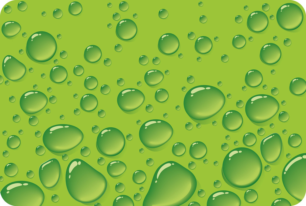 Green Drops. Vector.