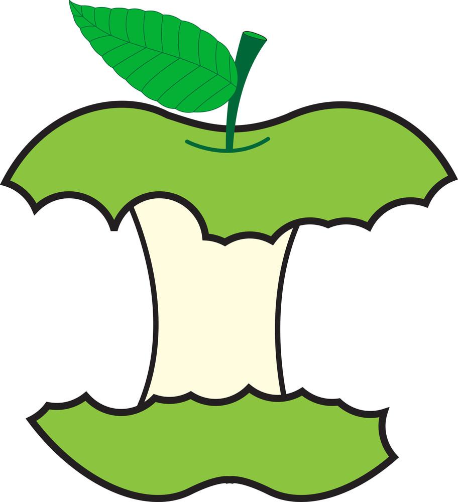 Green Eaten Apple Vector Design