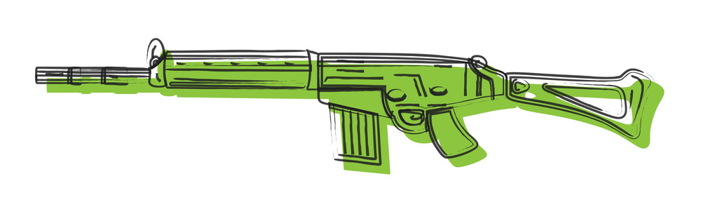Green Fancy Gun Drawing