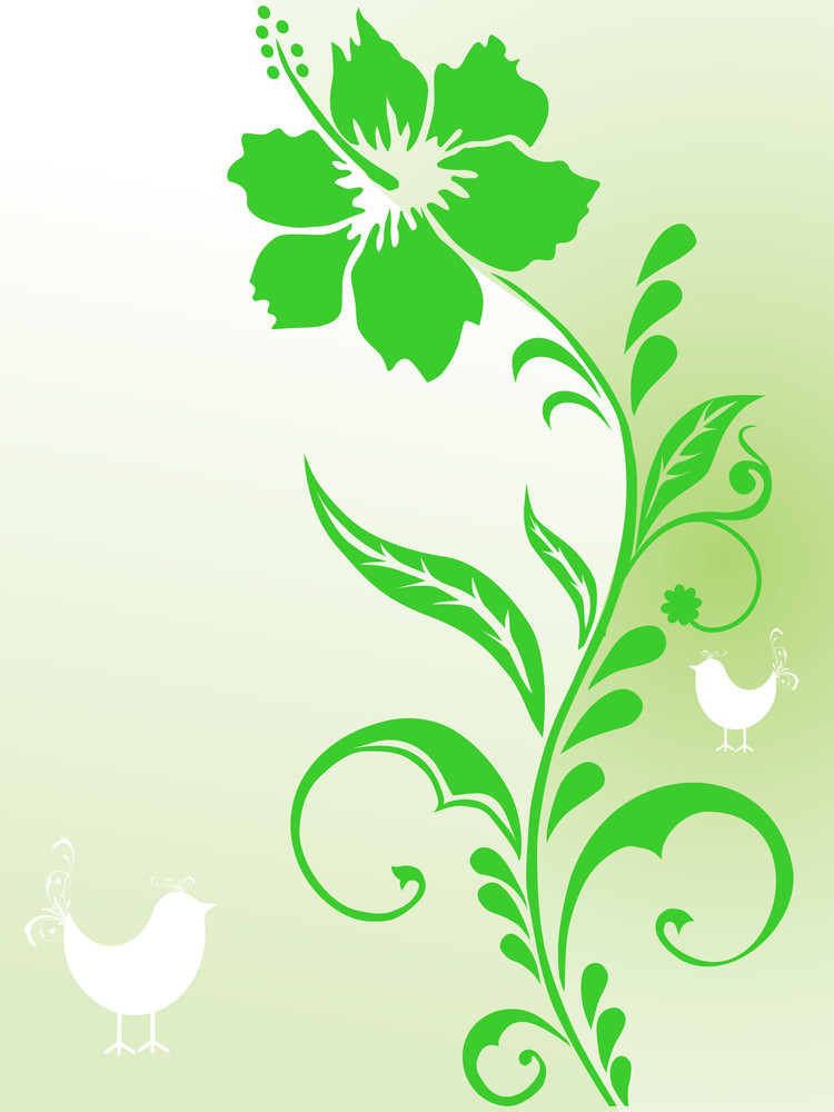 Green Floral Background With Bird