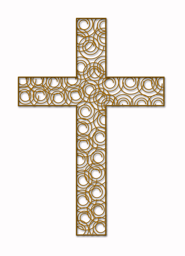 Green Floral Cross On White 1