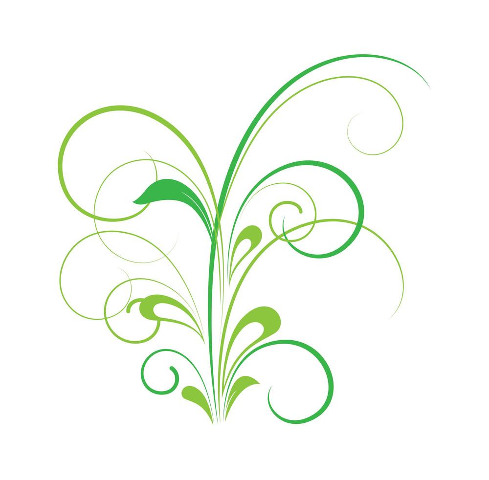 Green Floral Design Art