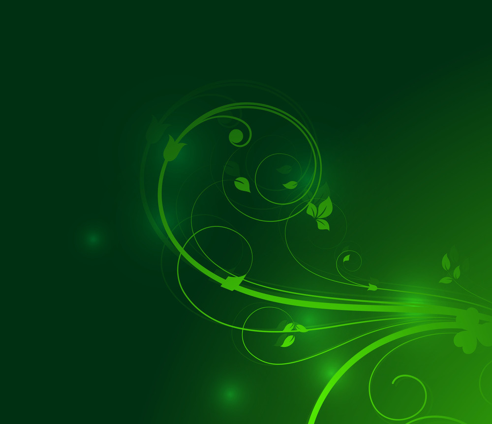 Green Floral Sparkles Background