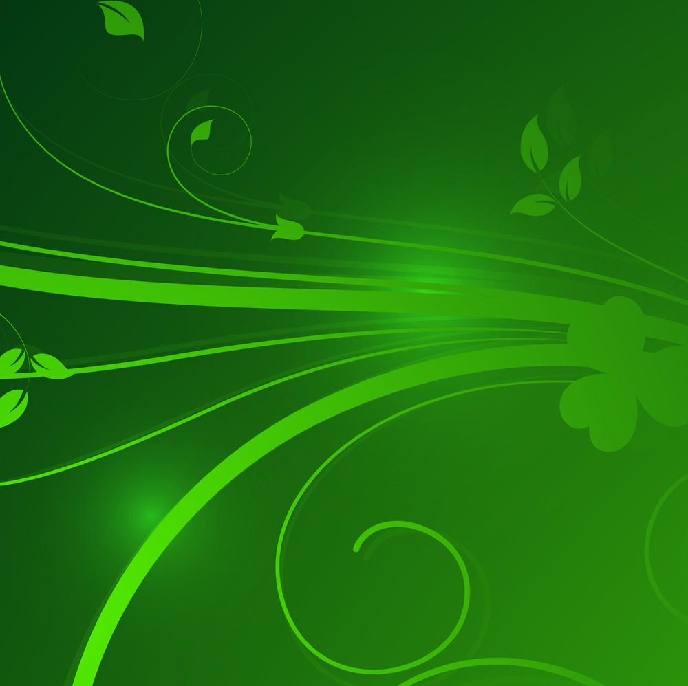 Green Floral Sparkles Background