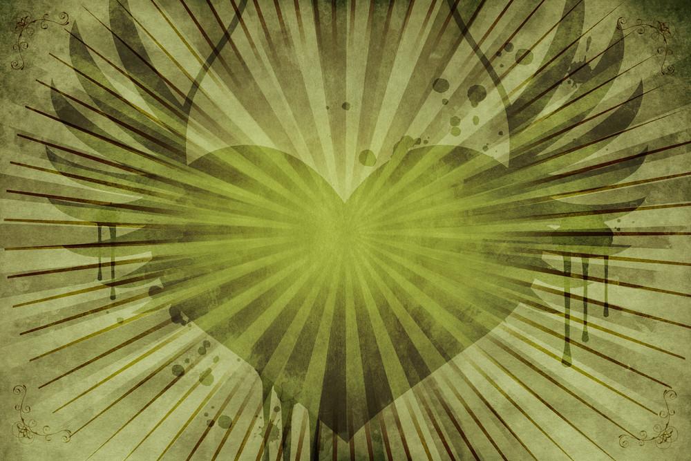 Green Floral Vintage Heart