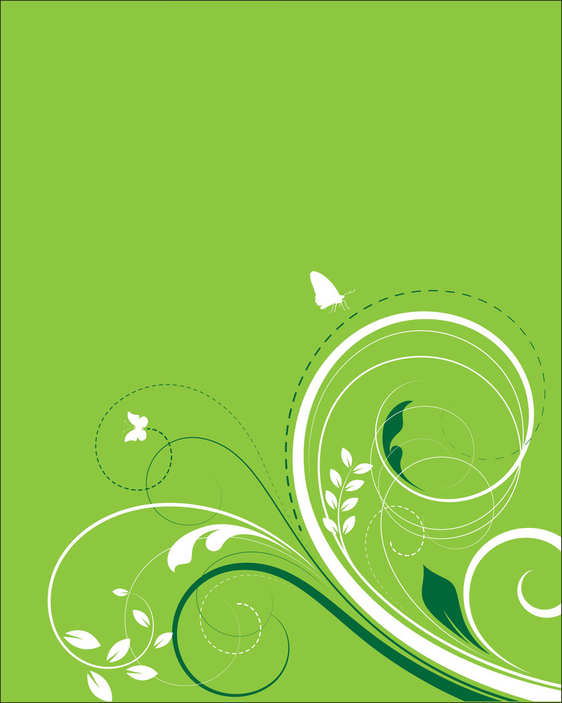 Green Flourish Background Swirls