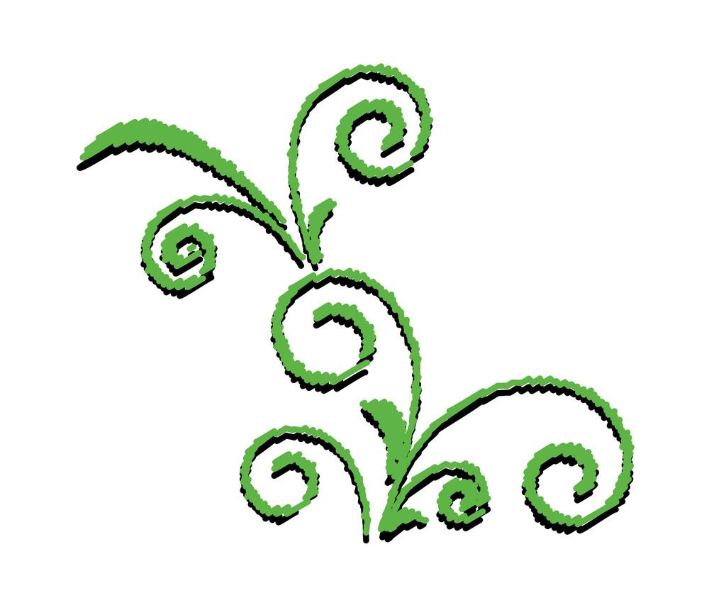Green Flourish Shape