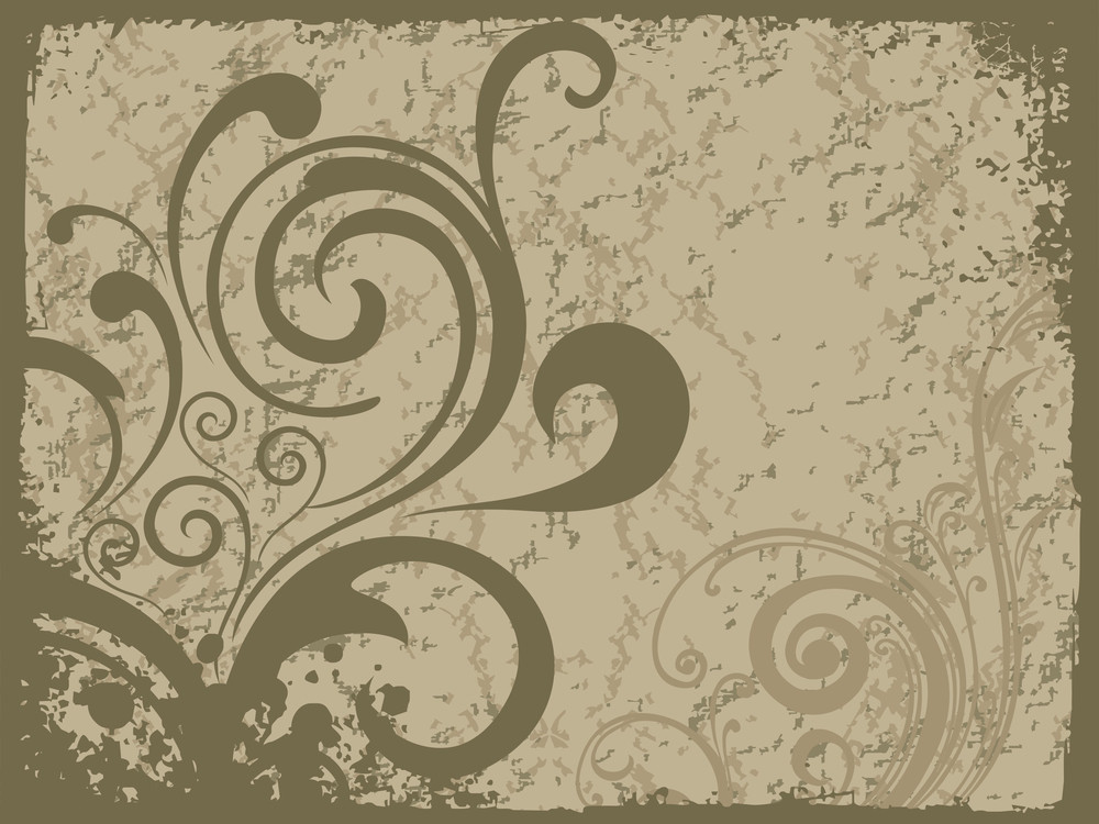 Green Grungy Floral With Texture Background