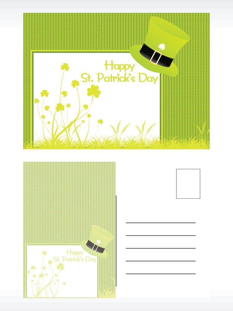 Green Hat Pattern Postcard