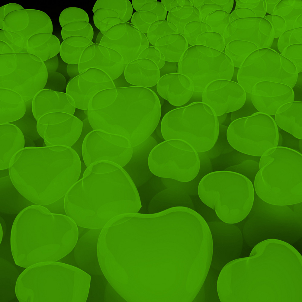 Green Heart Balloons Background