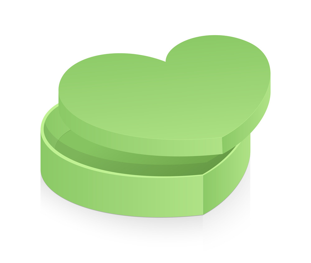Green Heart Box Vector Illustration