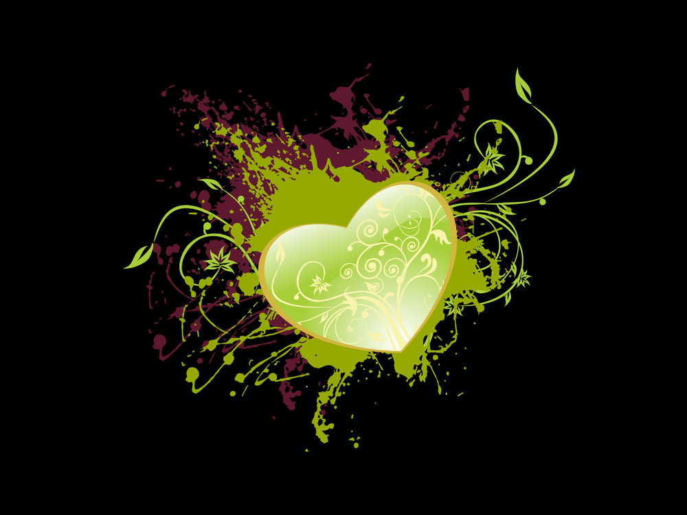 Green Heart With Black Backdrop