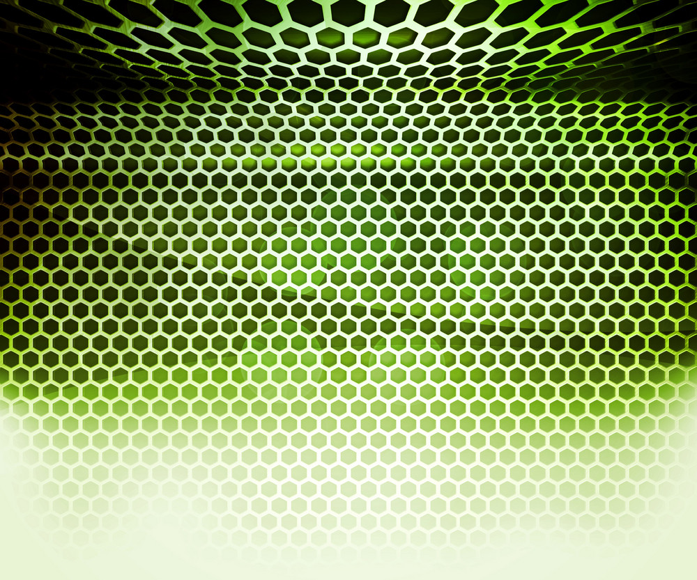 Green Hex Grid Abstract Background