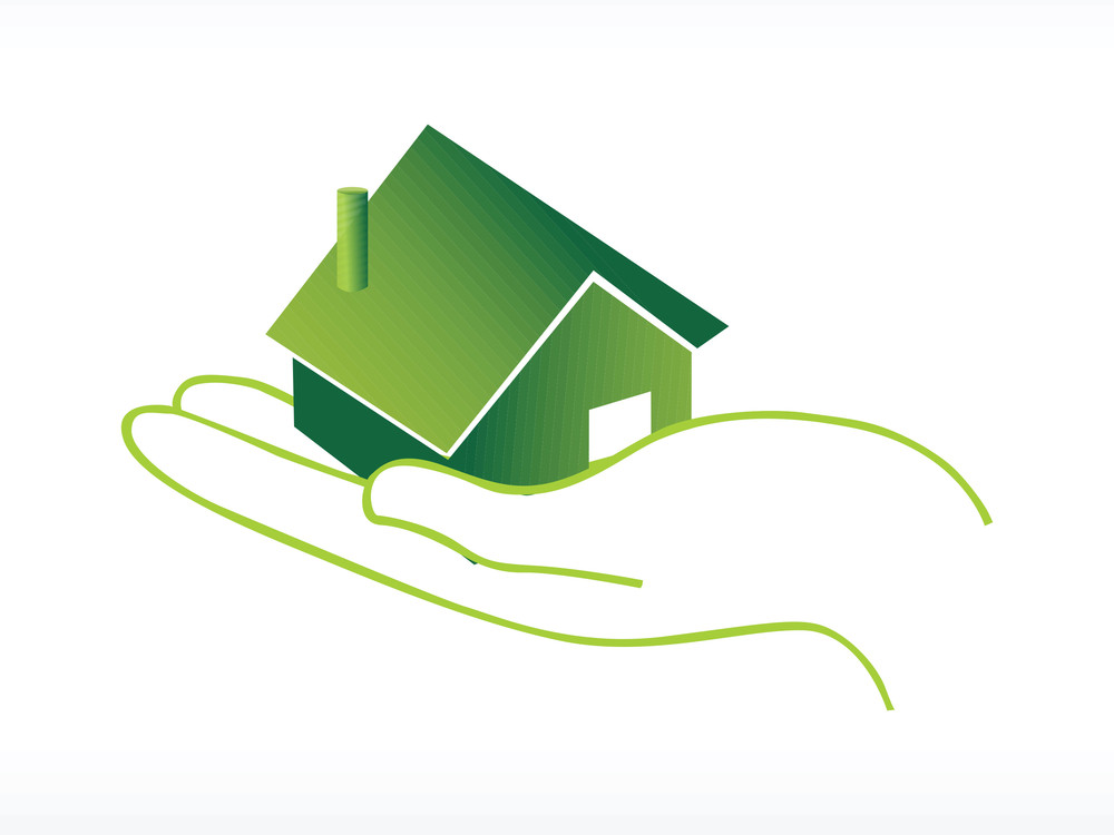 Green House On Hand Vector Icon