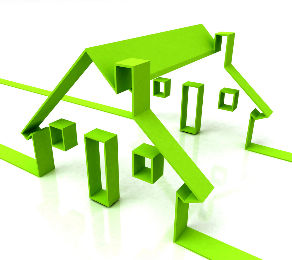 Green House Symbol Shows Real Estate Or Rentals