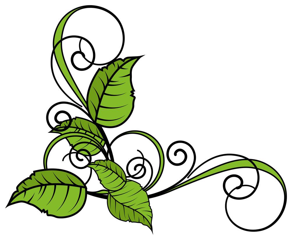 Green Leaves Flourish Corner Frame