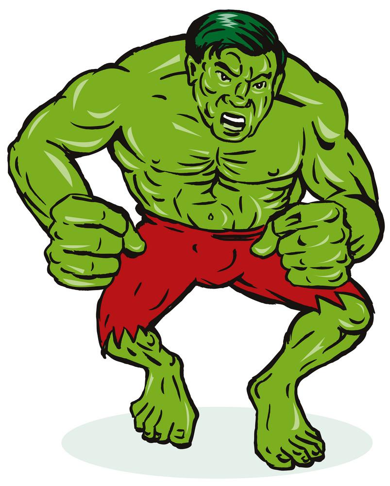 Green Man Flexing