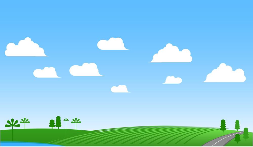 Green Meadow Vector Banner.