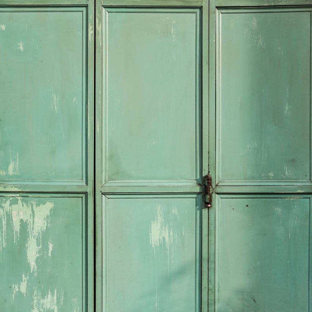 Green metal door background