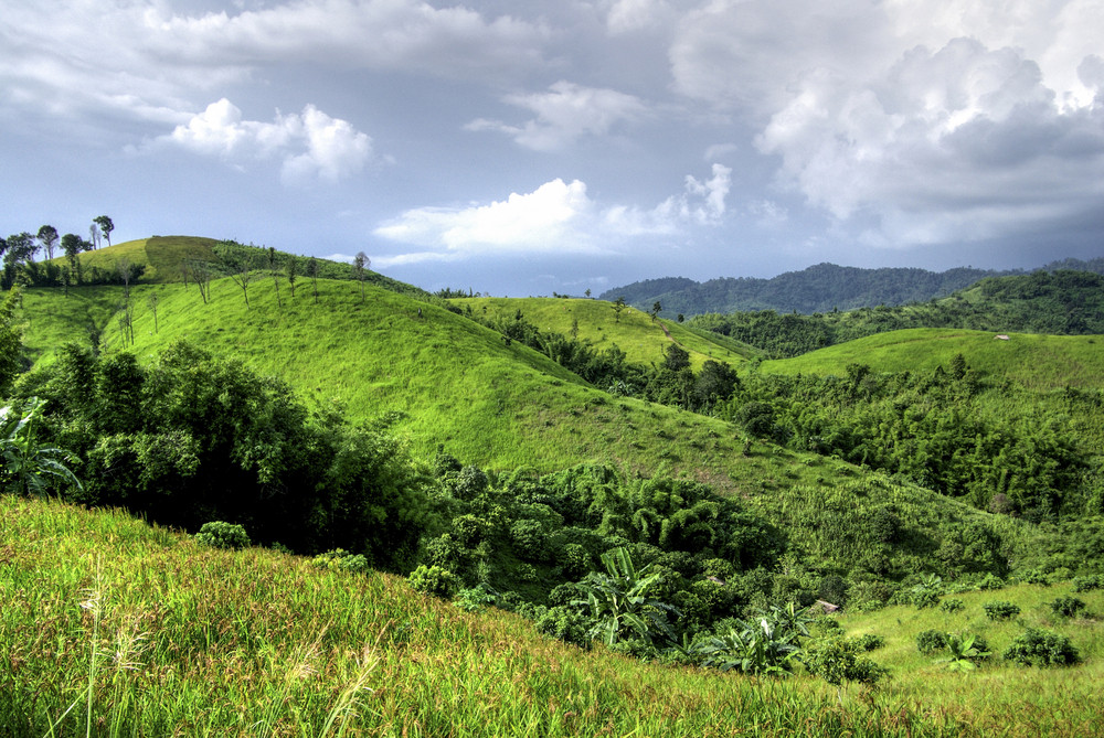 Green mountain on cloud, Nan Thailand