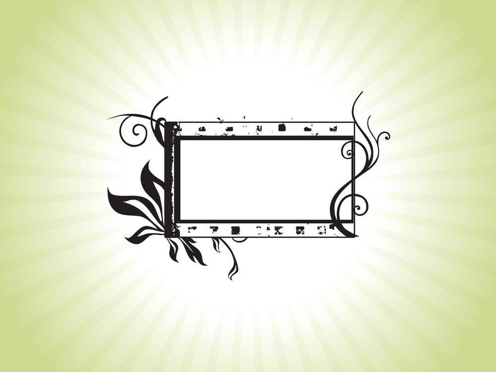 Green Ornate Flower Pattern Black Frame  On A White Background