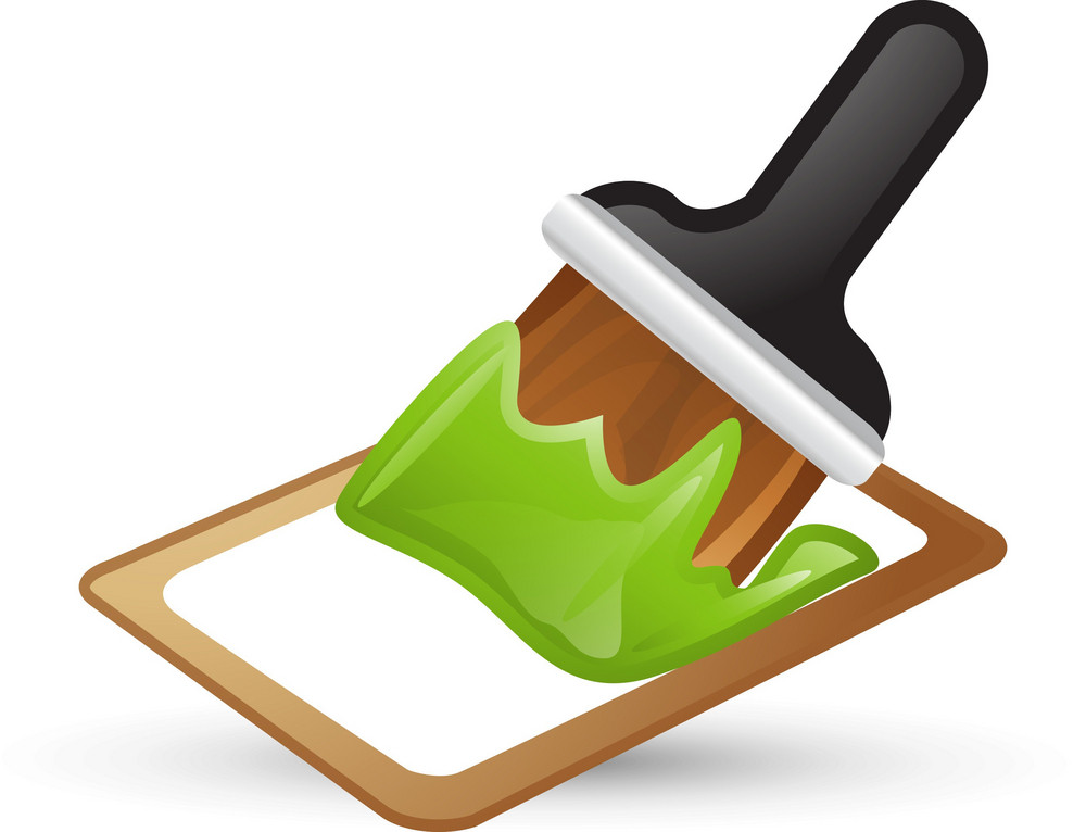 Green Paint Brush Lite Art Icon