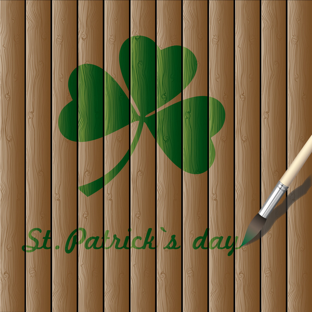 Green Paint Draw A Leaf Of Clover