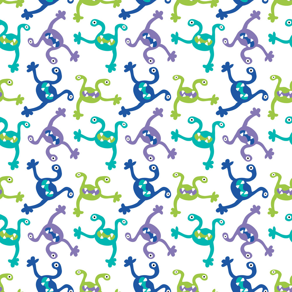 Green, Purple, And Blue Monsters Pattern