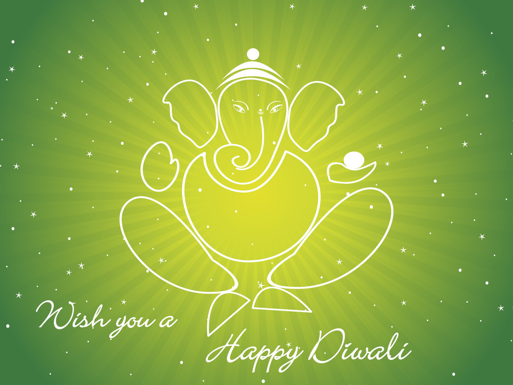 Green Rays Background With Ganpati Shape