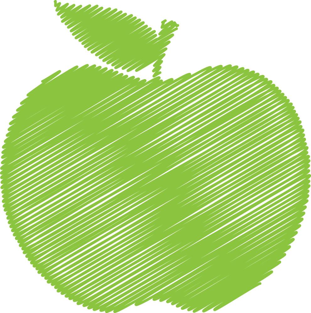 Green Scribble Apple